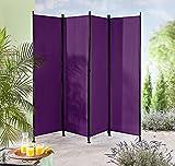 Paravent Raumteiler Trennwand violett 4-teilig - flexibel verstellbar
