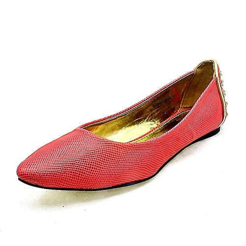 Mesdames bout pointu chaussures plates avec des détails cloutés à dos Rose