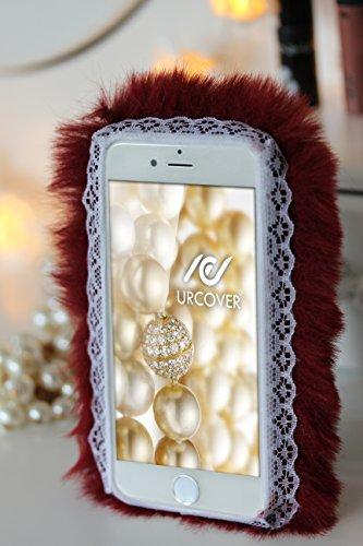 URCOVER® Coque Douce PELUCHE Case | Apple iPhone 6 Plus / 6s Plus | FOURRURE Blanc | Étui de Protection Arrière Pratique Fashion Chic Housse Telephone Accessoires Élegant Rouge