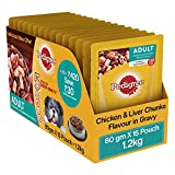 #1: Pedigree Gravy Adult Dog Food Chicken & Liver Chunks, 80 g (Pack of 15)