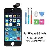 Rarlon Display Compatible Für iPhone 5 Schwarz LCD Bildschirm Ersatz Für Touchscreen Glas Reparaturset Ersatz Einschließlich Kostenlose Werkzeug(5G-Schwarz)