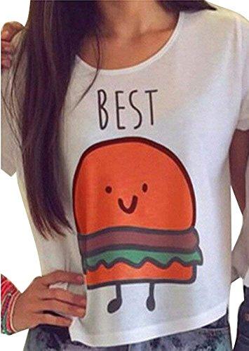 Kostüm Friend Best 2 - Damen Kurzarm T-Shirts Best Friends Tee für Mädchen mit Aufdruck Burger und Pommes Lustige Passende Kostüm B Best DE 34
