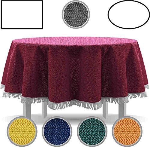 Exclusive Nappe de table de jardin, ronde, ovale, carrée classique avec franges, gris foncé, 160 cm