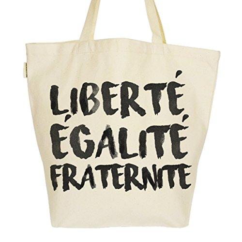 Grand Sac Cabas Fourre-tout Imprimé Toile Bio 37x45x20cm Tote Bag XL - Liberté Egalité Fraternité