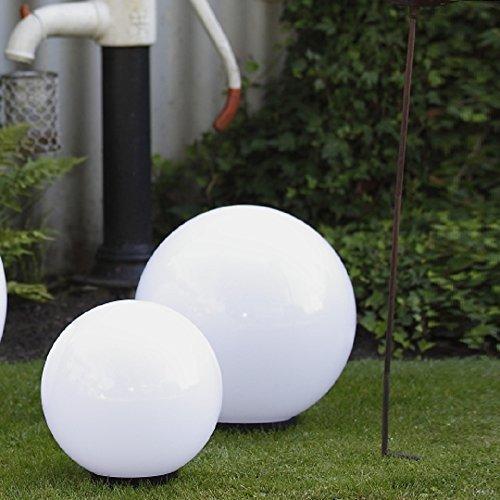 Kugelleuchten 2er SET, Gartenbeleuchtung 30 & 40 cm Ø, Außenleuchten, weiße Gartenlampen, Innen & Außen, Gartenkugeln für Energiesparlampen E27 & LED - 230 V & 23W, Kugellampen mit IP44, 180 cm Kabel