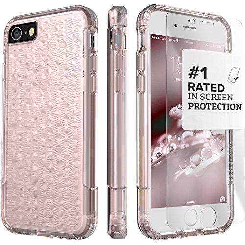 Funda iPhone 7 Plus, (Rosa Dorado Claro) Inspire Kit Funda Protectora SaharaCase con [Protector de Pantalla de Vidrio Templado ZeroDamage] Fuerte Protección Antideslizante [Cubierta Anti-golpes] Fino y Elegante