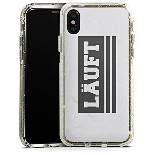 Apple iPhone X Bumper Hülle Bumper Case Glitzer Hülle Sprüche Sayings Phrases Bumper Case Glitzer gold