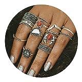 AMDXD 14 Stücks Midi Ring Damen Türkis Rot Weiß Sonne Vintage Silber Ringe Set Boho