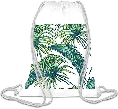Palm Leaf Pattern Kordelzug Beutel Palm Leaf White