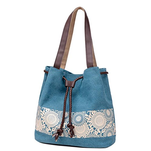 Transer Canvas Handbags & Single Shoulder Bags Women Drawstring Bag Girls Hand Bags, Borsa a spalla donna Grey 32cm(L)*32(H)*7cm(W) Blue