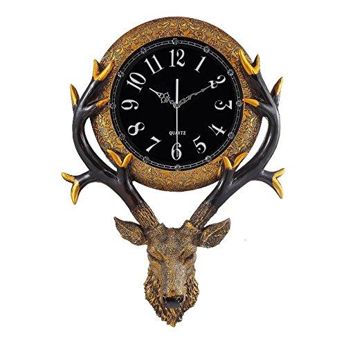 Vinteen orologio europeo orologio da parete testa di cervo in resina orologi orologio da parete muto soggiorno americano creativo orologio decorativo retro orologi da parete orologio al quarzo horologe (colore: oro) ( color : arabic numerals )