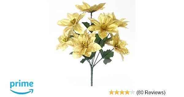 7 Flower Heads each bunch Gold, 12 12 x 30cm Artificial Poinsettia Bush
