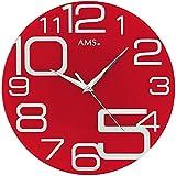Orologio da parete rosso dinotech AMS 9462 Designer Orologio da parete metallico vetro stampato al quarzo