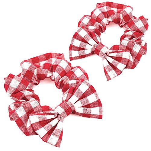 2x rot & weiß Gingham-Schleife Elastische Haargummi/Bobble/Haargummis–Schule Haar Zubehör