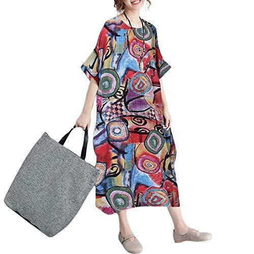 FeiXing158 2019Women Dress Plus Size Sommermuster Print Leinen Sommerkleid Female Loose Batwing Sleeve (Mouse-mini-cutter Mickey)