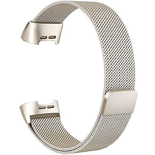 """Simpeak für Fitbit Charge 3 Armband Champagner (5,25\""""-6,7\""""), Uhrenarmband für Fitbit Charge3 SE Edelstahl Magnet Armbänder Band"""