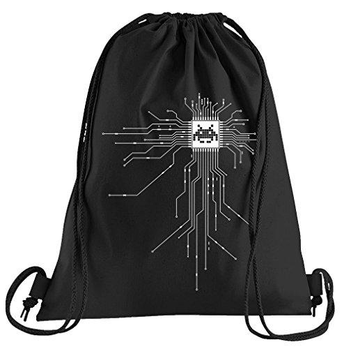 Musik Nerd Kostüm - T-Shirt People Nerd CPU Cyborg Computer Chip Sportbeutel - Bedruckter Beutel - Eine schöne Sport-Tasche Beutel mit Kordeln