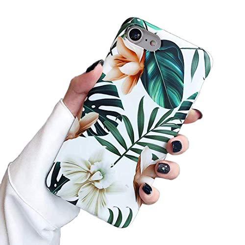 Subesking Schutzhülle für iPhone 6 / iPhone 6S, niedlich, schlanke Passform, weiches TPU, Weiß mit Blumen und grünen Blättern, for iPhone 6 Plus/6s Plus 5.5 Inch, weiß (Entsperrt Iphone 6 Plus)