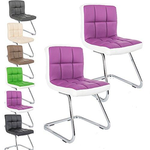 2 x Lounge Stuhl Freischwinger Kunigunde - Konferenzstuhl - Küchenstuhl - viele Farben - Retro Look - Barstuhl - Esszimmerstuhl - Polsterstuhl (Lila - Weiß) (Weiß Polsterstuhl)