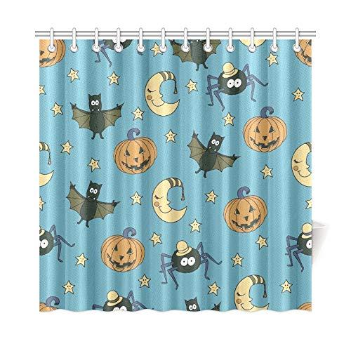 JOCHUAN Home Decor Bad Vorhang Fantastische Ungewöhnliche Halloween Kürbisse Polyester Stoff Wasserdicht Duschvorhang Für Badezimmer, 72 X 72 Zoll Duschvorhänge Haken Enthalten
