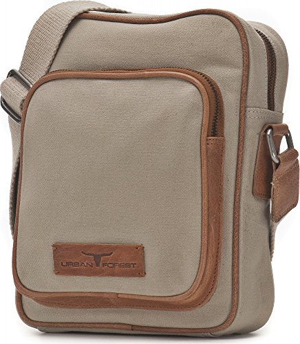 Urban Forest, Bags, Crossover borse, tracolla, Canvas, pelle, 20x 25,5x 6,5cm beige