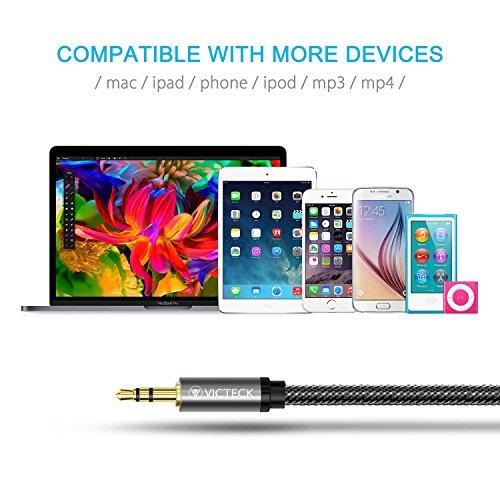 Klinke Verlängerung 1m, Victeck Nylon 3.5mm Stereo Klinken Audio Verlängerungskabel für AUX Eingänge Buchse Vergoldete Kontakte Kompatibel mit iPad,iPhone oder Smartphones,Tablets, Kopfhörer. - 6
