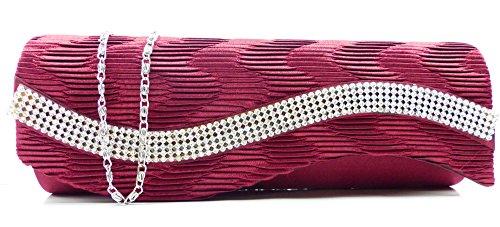 Handtaschen 4660 Clutch Damen Handtasche der Extraklasse mit Glamour Strass viele Modelle (red wave) (Red-abendtaschen Clutch)