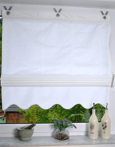 Raffrollo / Ösenrollo Lulea uni weiß 45/60/80/100 x 140 cm ohne Bohren (ca. 80 x 140 cm)