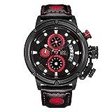 WATCHES-HAN Uhren für Männer Wasserdicht 5 Colores Multifunktion Bewegung Einzigartiges Design Men Fashion Quarzuhren Young People -Red Schwarz