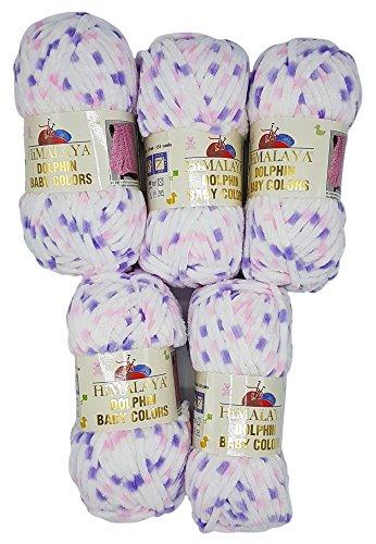 5 x 100 Gramm Strickwolle Himalaya Dolphin Baby Colours weiß flieder rosa 80410, 500 Gramm Wolle super bul - Himalaya-garn