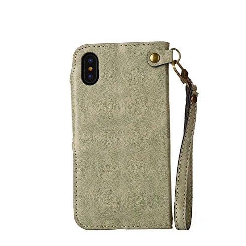 Rose Blume geprägt Flip Stand Case Retro PU-Leder Magnetverschluss Geldbörse Tasche mit Lanyard für iPhone X ( Color : Black ) Light green