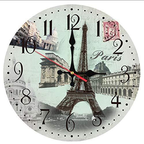 Knncch Wanduhr Aus Holz Uhren Quarzuhr Wohnkultur Europa Kreisförmige Wohnzimmer Gesicht Aufkleber,12Inch