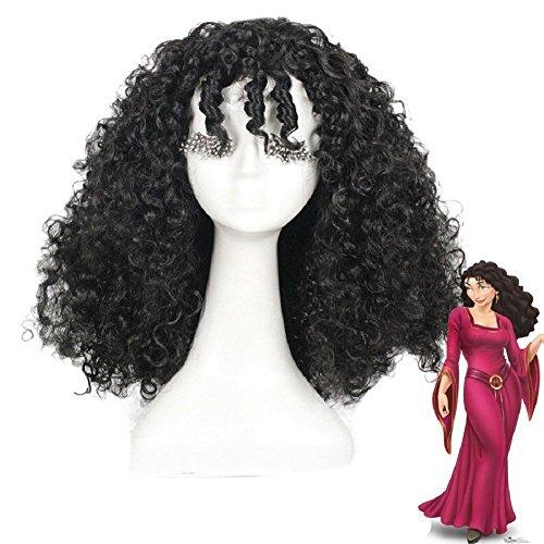 Evere Halloween Perücke Cosplay Kostüm Requisiten Schwarz Lockiges Haar Zubehör für Erwachsene Party Verrücktes Kleid ()