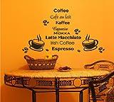 Wandtattoo Wandbild Aufkleber Küche Kaffee Coffee Motiv135 (in bester Qualität aus Markenfolie gefertigt)
