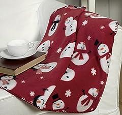 Idea Regalo - Pile in poliestere a tema natalizio con pupazzo di neve su sfondo rosso, (127 cmx 152cm circa)