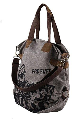 UUstar® Frau vintage Schultasche Canvas Handtasche Rucksack Groß Umhängetasche Reisetasche Ipad Kameratasche Schule Tasche Sales Outlet (Grau.) - 2