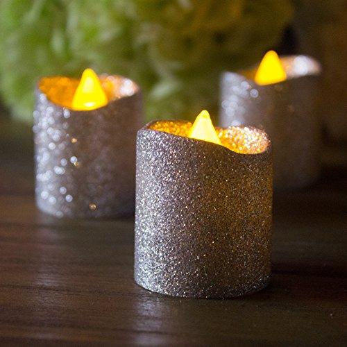 loguide LED Tealights flackernde velas sin llama realista Glitter Laca Ted con Power Decoración F ¨ ¹ r boda Outdoor Bar Restaurante Party Home Cumpleaños 12pcs