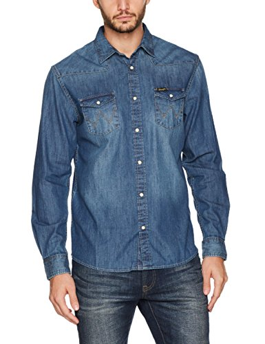Wrangler Herren Jeans Hemd Western Denim Shirt Blau (Mid Indigo 8E)