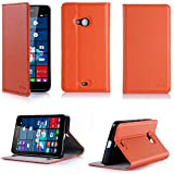 Microsoft Lumia 532 Tasche Leder Style orange Hülle Cover