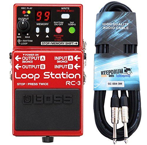 Boss RC de 3 Loop Station Efecto de pedal Keepdrum de guitarra cable 3 m