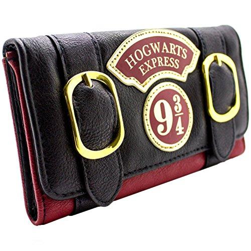 s Express Doppelschnalle Schwarz Portemonnaie Geldbörse (Hogwarts Kostüme Muster)