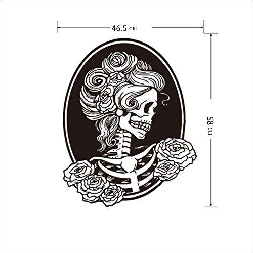 oween Mauer Aufkleber Geist Festival Dunkel Kunst Abziehbilder Weiblich Schädel Kunst Wandgemälde Abnehmbar Wasserdicht Tür Fenster Zuhause Dekoration , 5 set , 58*33CM (Schöne Halloween-nägel)