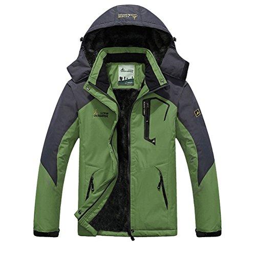 Minetom Herren Softshelljacke Wasserdicht Outdoor Atmungsaktiv Funktionsjacke Sport Winterjacke Wanderjacke Skijacke Doppeljacke Mantel Grün EU L