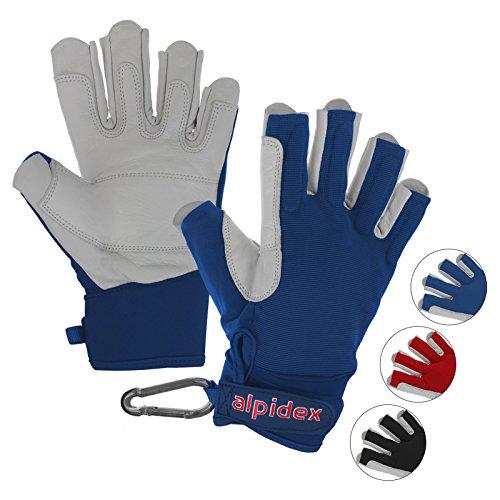 ALPIDEX Klettersteighandschuhe Black BOA 2.0 Unisex Echtleder Lederhandschuhe Kletterhandschuhe Half Finger Gloves Via Ferrata, Größe:S, Farbe:Wild Blue