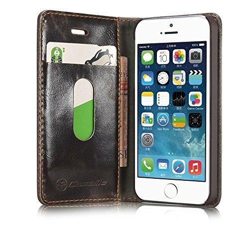G-i-Mall Coque pour iPhone 7 Plus, Folio Housse étui de Protection en Cuir Portefeuille Wallet Cover Case pour iphone 7 Plus 5,5 Pouces Pochette - Noir Marron