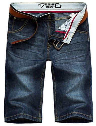 Valuker N6061 Herren Jeans Shorts Sommer Kurze Hose Dunkelblau (ohne Gürtel )
