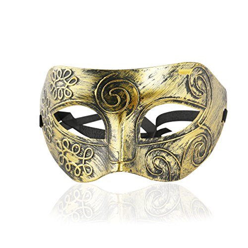 Roman Fighter Masquerade Face Mask for Fancy Dress Ball /Masked Ball /Halloween (Gold) (Coole Maskerade-masken Für Männer)