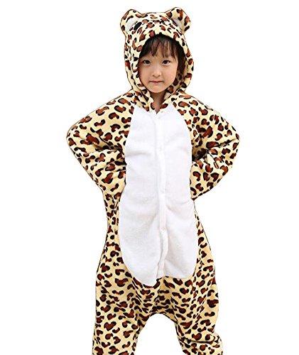 Rojeam Kinder Cheetah Pyjamas Tier Kostüm Onesie Kinder Schlafen Tragen (Cheetah Kostüm Mädchen)