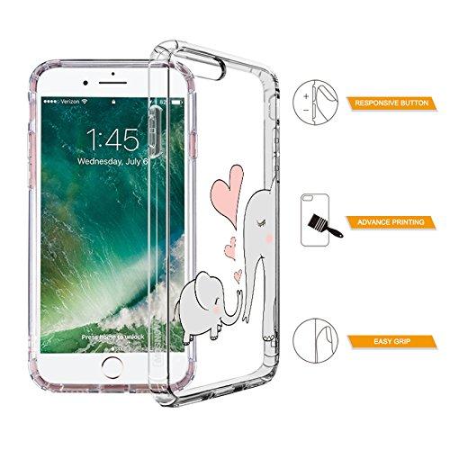 iPhone 8 Plus Hülle, iPhone 7 Plus Hülle, MOSNOVO Niedlich Elefant Muster TPU Bumper mit Hart Plastik Hülle Durchsichtig Schutzhülle Transparent für iPhone 7 Plus / iPhone 8 Plus (Niedlich Elefant) Niedlich Elefant