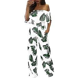 Sunenjoy Combinaison Pantalon Large Chic Femmes Casual Off épaule sans Bretelles sans Manches Floral Feuille Impression Lâche Combishort Jumpsuit Été Élégant (2XL, Vert)